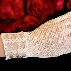 Rękawiczki koronkowe ręcznie robione na szydełku