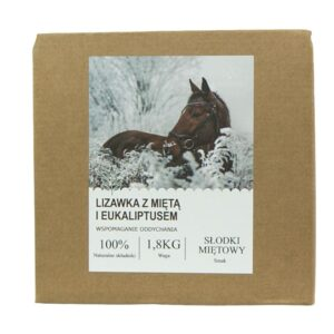 Naturalna lizawka dla koni z miętą i eukaliptusem - wspomaga oddychanie