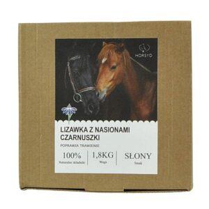 Naturalna lizawka dla koni z nasionami czarnuszki - poprawia trawienie